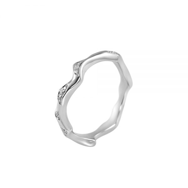 Reiko Platinum and Diamond Rose Branch Ring-2204