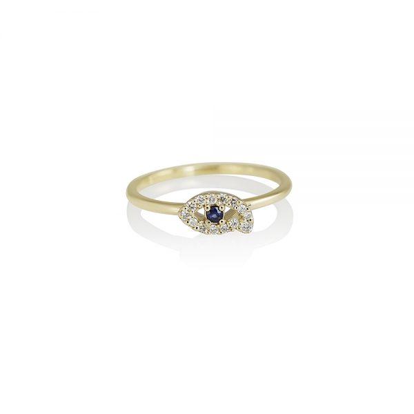 Diamond and Sapphire Eye Ring by Cynthia Britt-0