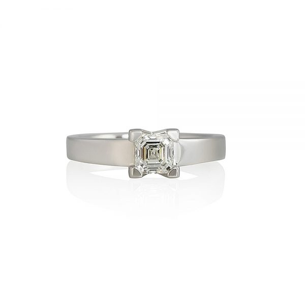 Britt V Asscher Cut Solitaire Engagement Ring-0