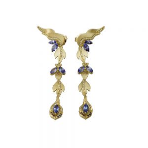 Yellow Gold Leaf Drop Earrings with Fancy Yellow Diamonds and Tanzanites-0