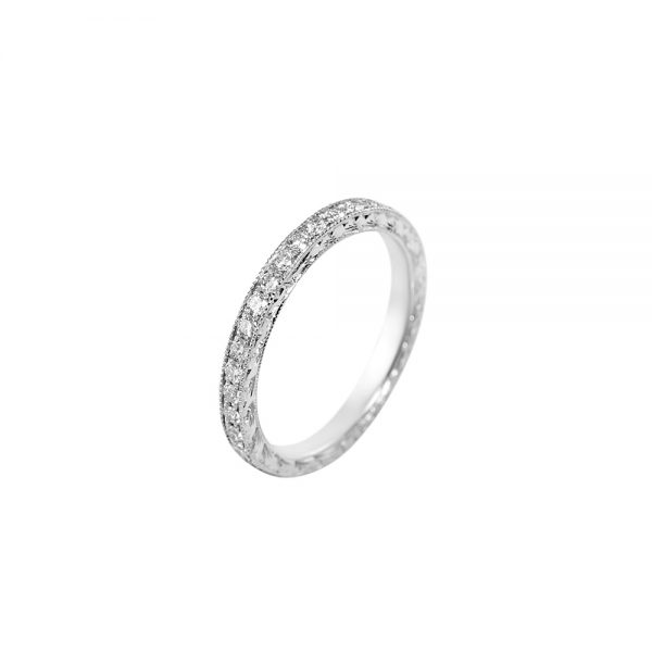Hand Engraved Diamond Eternity Band-2302