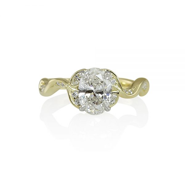 Vine Inspired Engagement Ring with Oval Diamond for Jamie-0
