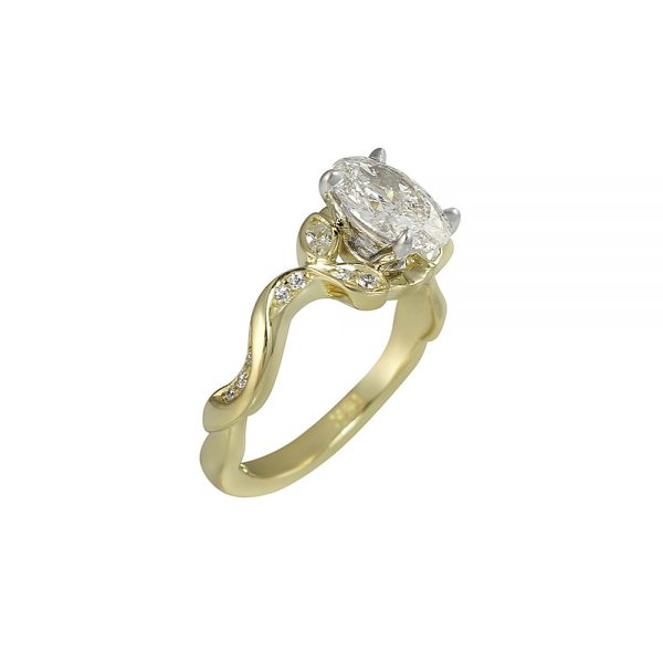 Vine Inspired Engagement Ring with Oval Diamond for Jamie-2353