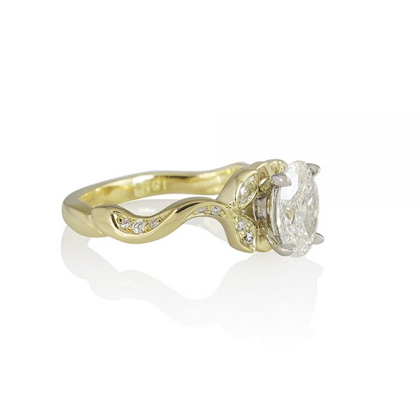 Vine Inspired Engagement Ring with Oval Diamond for Jamie-2351