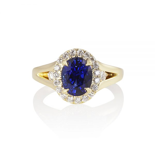 Sapphire and Diamond Split Shank Ring for Janis-0