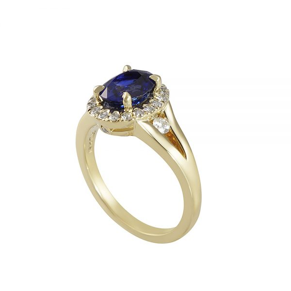 Sapphire and Diamond Split Shank Ring for Janis-2350
