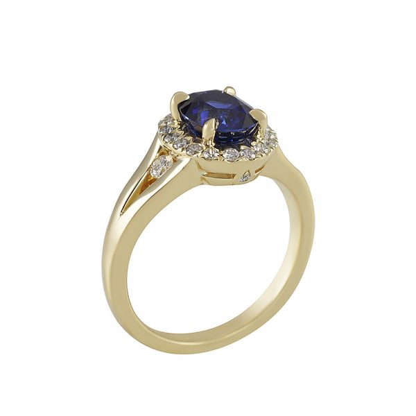 Sapphire and Diamond Split Shank Ring for Janis-2349