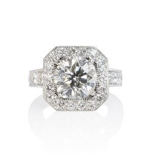 Octagon Halo with Floating Diamond Engagement Ring for Lee Ann-0