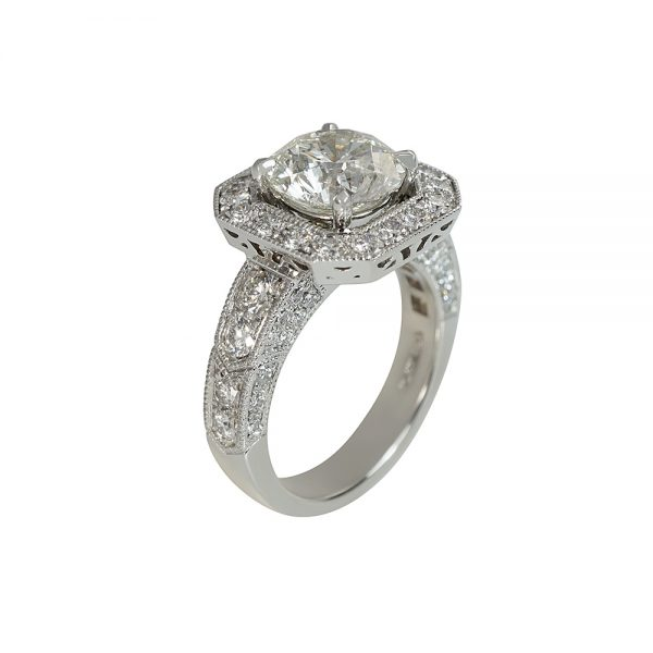 Octagon Halo with Floating Diamond Engagement Ring for Lee Ann-2324