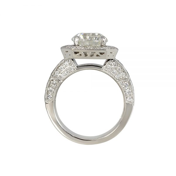 Octagon Halo with Floating Diamond Engagement Ring for Lee Ann-2326