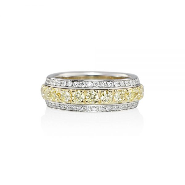Lydia Fancy Yellow Diamond Two Tone Band Ring-0