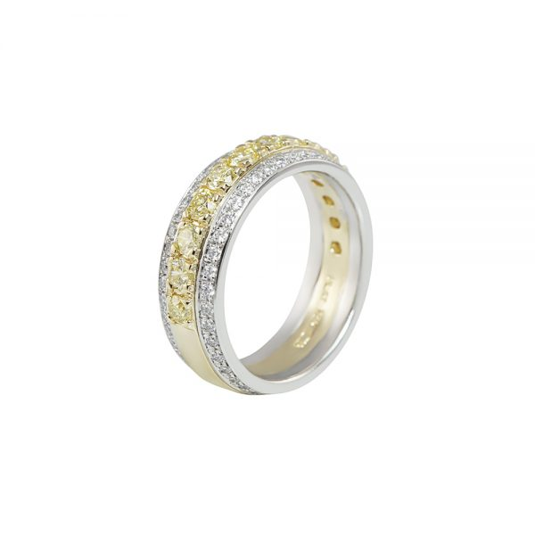 Lydia Fancy Yellow Diamond Two Tone Band Ring-2347