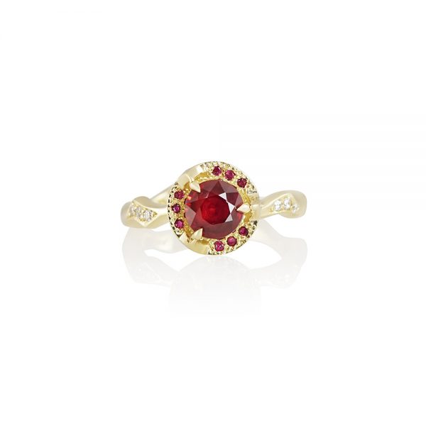 Ruby and Thorn Branch Engagement Ring for Francesca-0