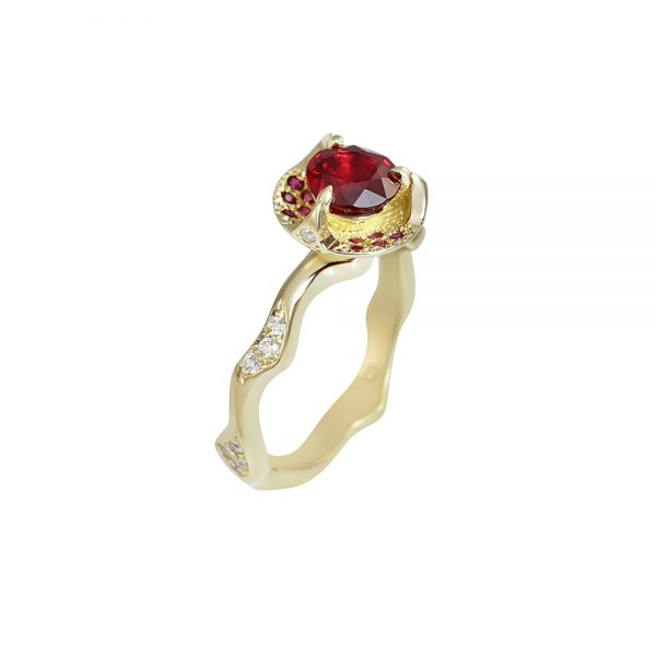 Ruby and Thorn Branch Engagement Ring for Francesca-2314