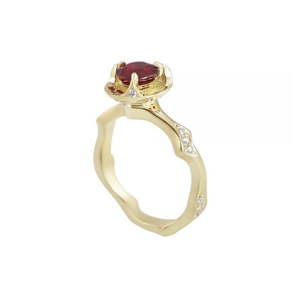 Ruby and Thorn Branch Engagement Ring for Francesca-2316