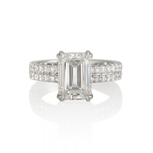Emerald Cut Engagement Ring with Diamond Basket for Saba-0
