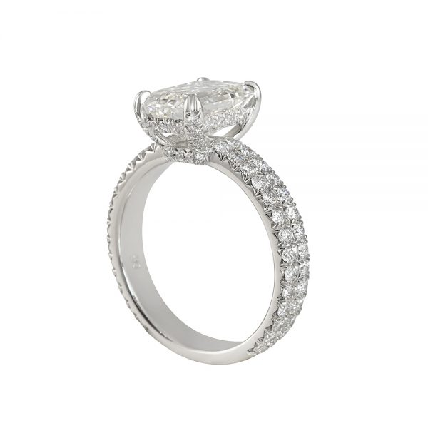 Emerald Cut Engagement Ring with Diamond Basket for Saba-2336