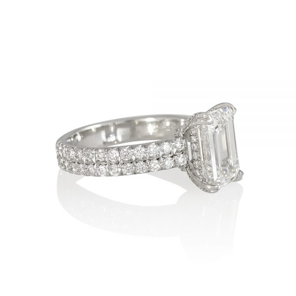 Emerald Cut Engagement Ring with Diamond Basket for Saba-2335