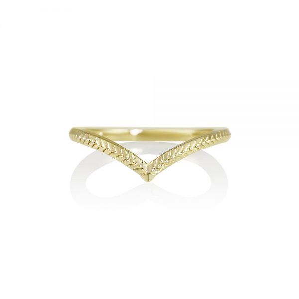 Textured Yellow Gold V-Ring-0