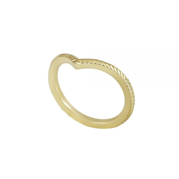 Textured Yellow Gold V-Ring-2310