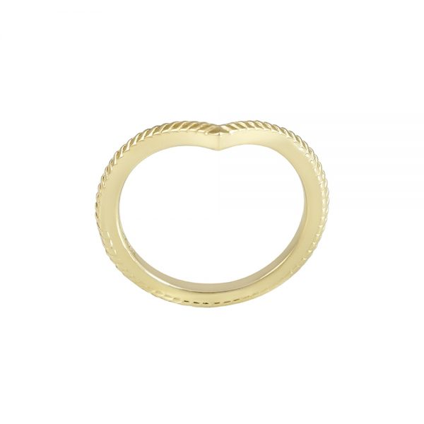 Textured Yellow Gold V-Ring-2311