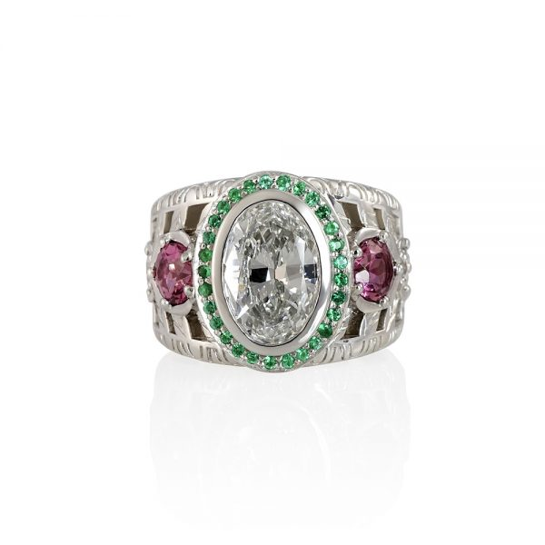 Oval Diamond Green Emerald and Pink Tourmaline Ring for Annmarie-0