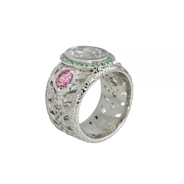 Oval Diamond Green Emerald and Pink Tourmaline Ring for Annmarie-2273
