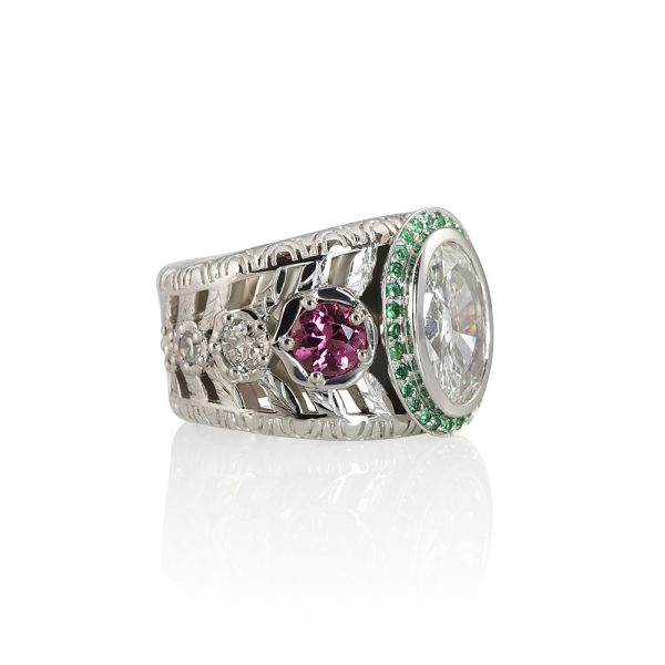 Oval Diamond Green Emerald and Pink Tourmaline Ring for Annmarie-2271