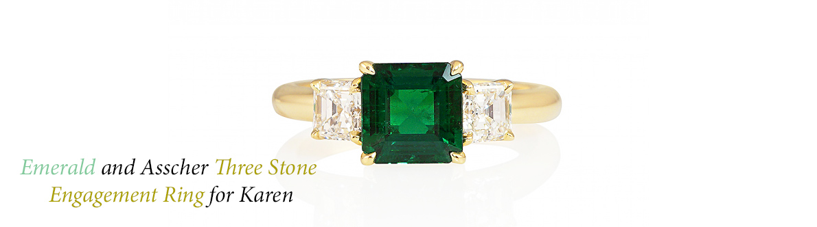Karen Emerald Three Stone