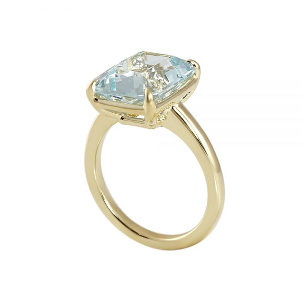 Aquamarine and Yellow Gold Ring for Christina-2172
