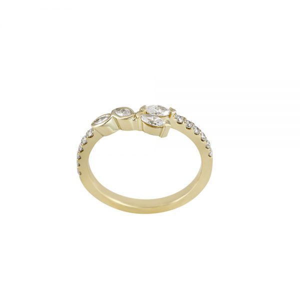 Yellow Gold and Marquise Diamond curved Wedding Band for Afeisha-2125