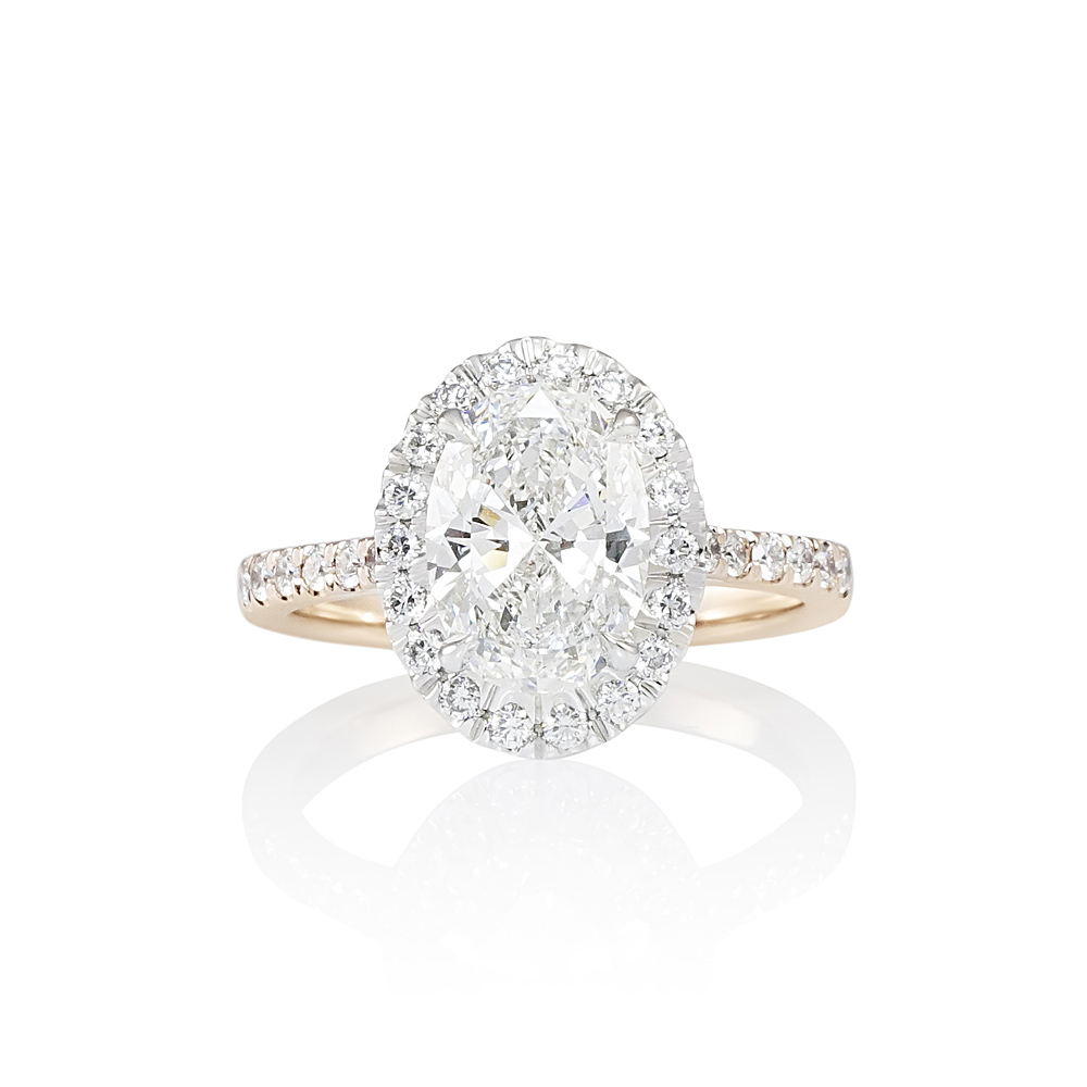 Two Tone Oval Diamond Halo Engagement Ring for Susanne  5e5e08496dc4