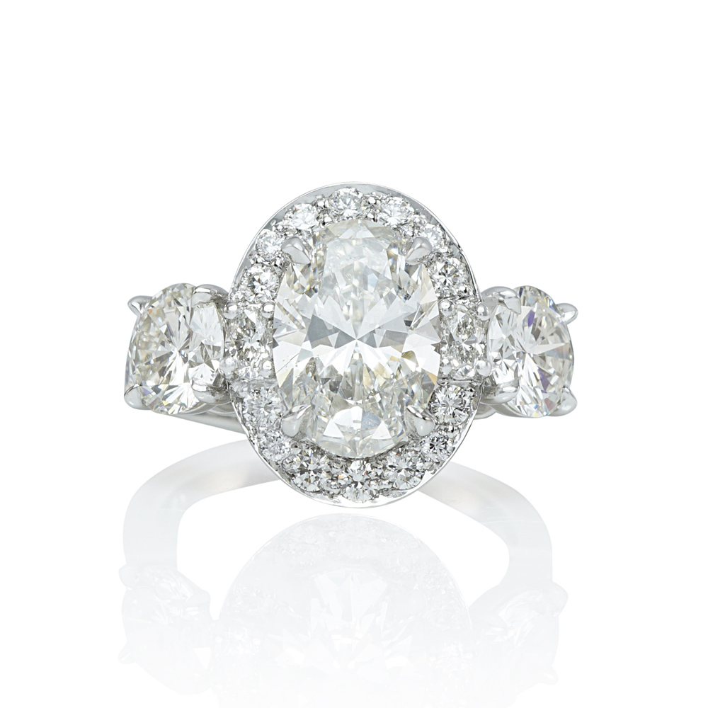 Oval Halo Three Stone Engagement Ring for Sara  838fbb028
