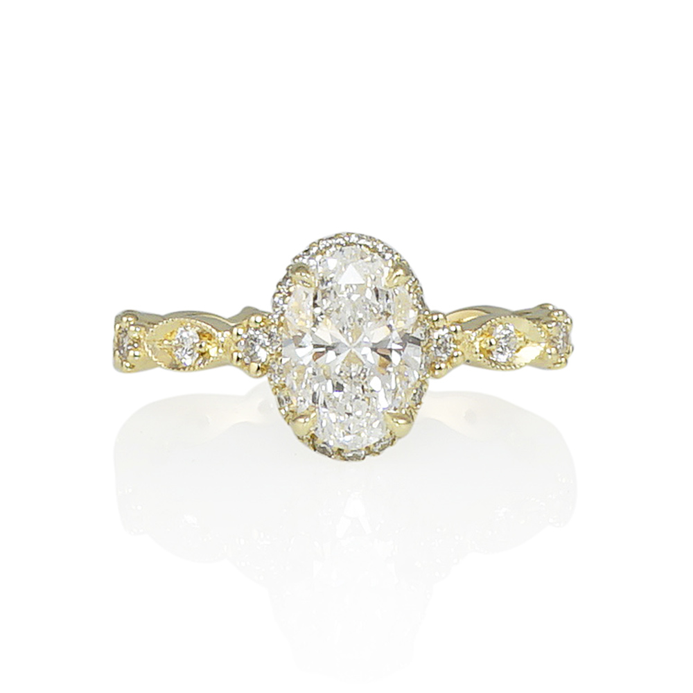 Diamond Collar™ with Flower Beads Oval Engagement Ring for Angela ... 25079b3526