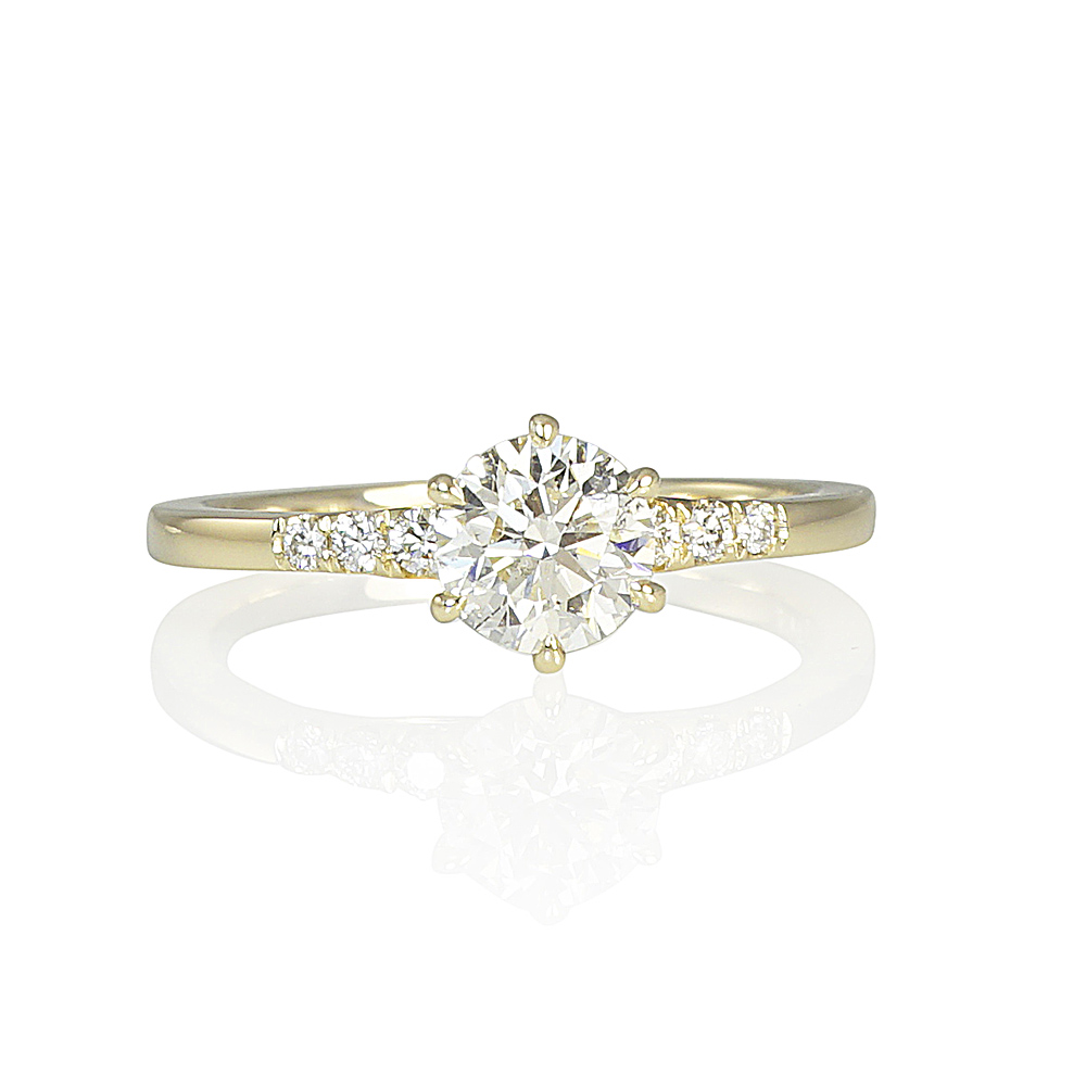 Timeless Six Prong and Mini Diamond Band Engagement Ring for ... ebd121cad